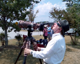 Here I'm watching the eclipse progression waiting to take photos at totality